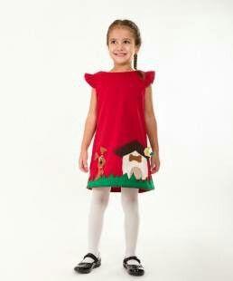 Handmade applique girls dress red dress puppy dress