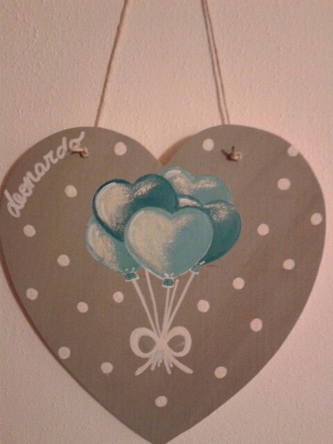 Hand painted wood heart_babies