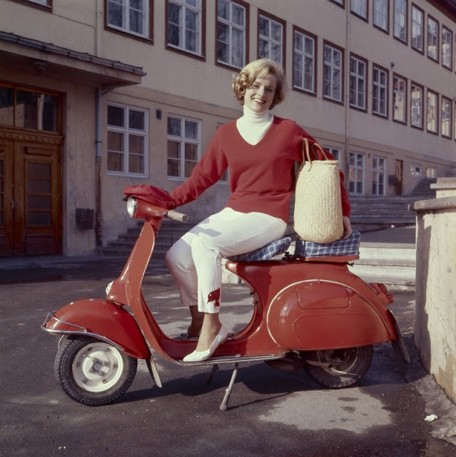 17MAY1964  Swede on a Vespa vintage fashion style color photo print ad model magazine red white pants casual sportswear 60s