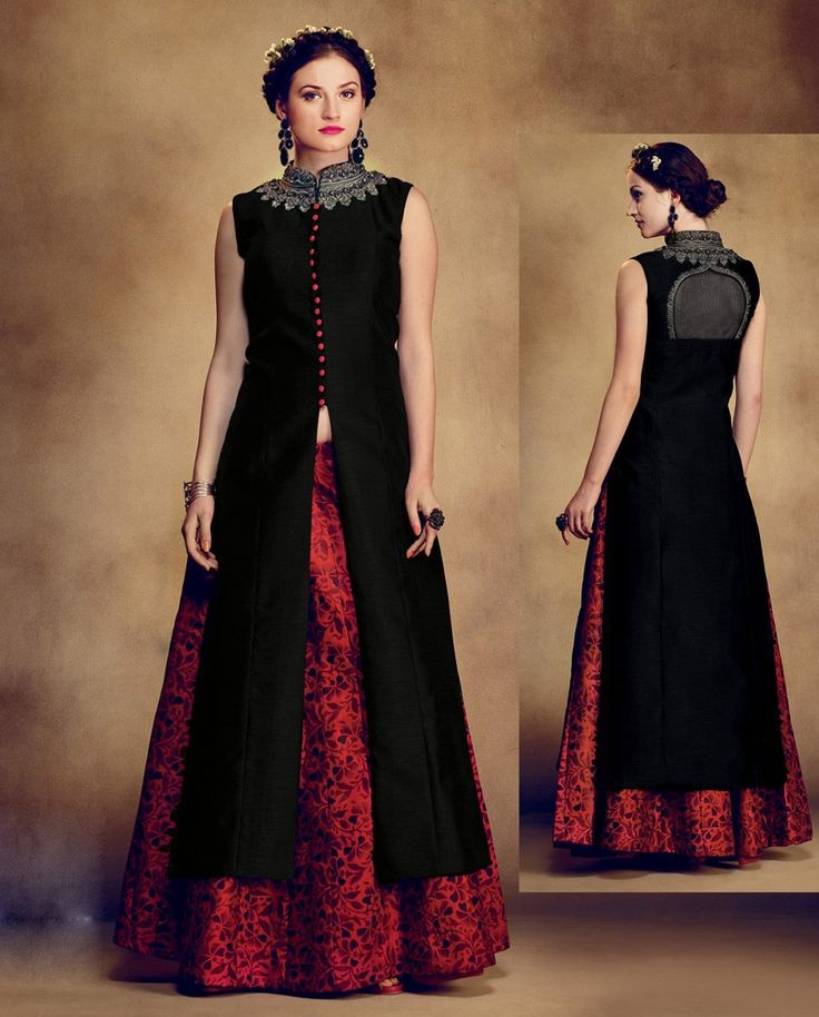 Readymade Embroidered Red And Black Salwar Kameez   A stupendous red and black salwar kameez dress is fabricated in raw silk + net kameez, santoon lining fabric, raw silk bottom with net dupatta. It is richly crafted with hand work on neck line and front