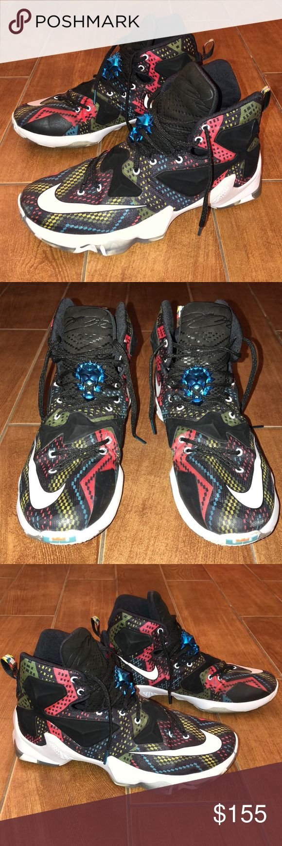 Like New Nike LeBron XIII BHM Multicolor size 10.5 Nike LeBron 13 BHM Multi-color edition   Size 10.5  Like New condition - bought for my husband, worn for one game indoors but they were too small for him Nike Shoes Athletic Shoes