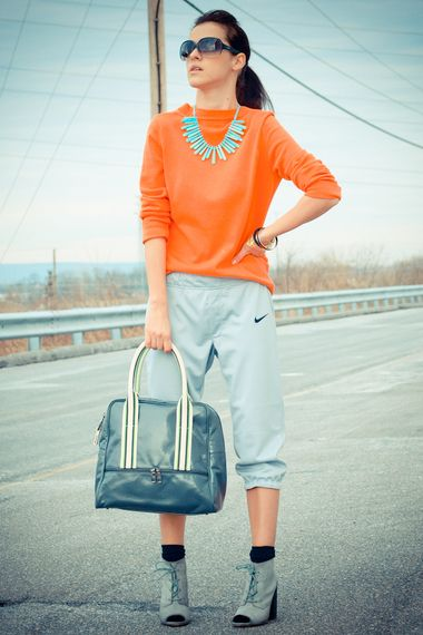 Athletic infusion | Women's Look | ASOS Fashion FinderNike Pants, Sports Luxe, Orange Clutches, Neon Orange, Fashion Finder, Fashion Sports, Athletic Infused, Asos Fashion, 2Dayslook Clutches