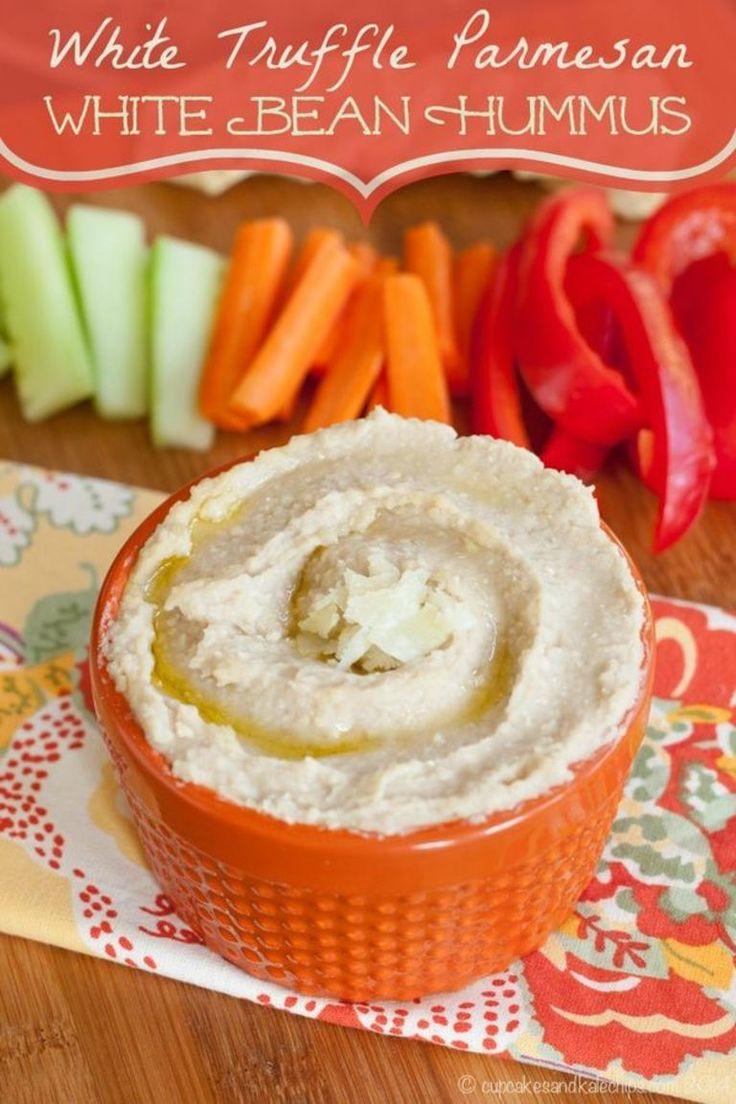 Hummus af hvide bønner med trøffelolie og parmesan