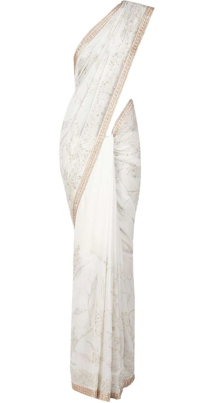 Ivory and gold thread work sari by SHEHLA KHAN. Shop at http://www.perniaspopupshop.com/whats-new/shehla-khan-7239