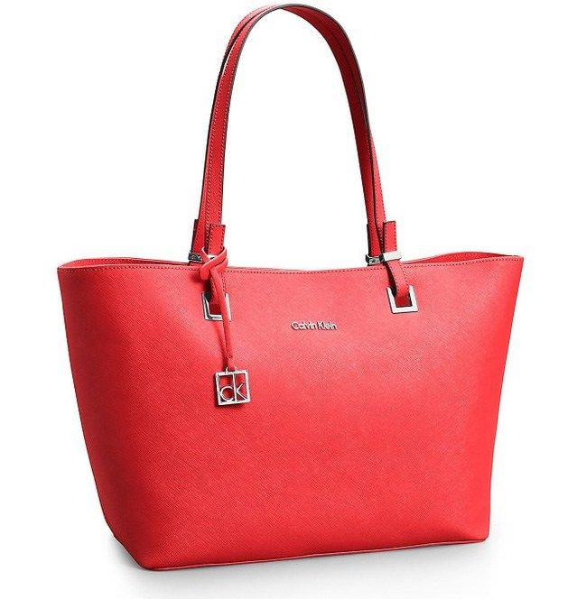Calvin Klein Scarlett Saffiano Leather Shopper Tote Bag Red Cerise