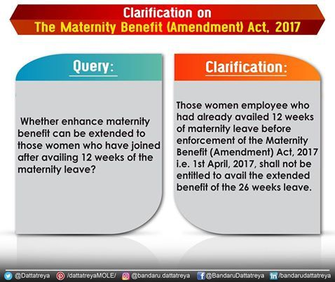 Yes, if the joining has happened on 1st April, 2017 or after that then the Maternity Benefit (Amendment) Act, 2017 is applicable. *The joining has to be from Maternity Leave not from Grace Period. #MaternityBenefit Press Information Bureau - PIB, Government of India PTI All India Radio News DDNewsLive Ministry of Information & Broadcasting, Government of India PMO India Bharatiya Janata Party (BJP)