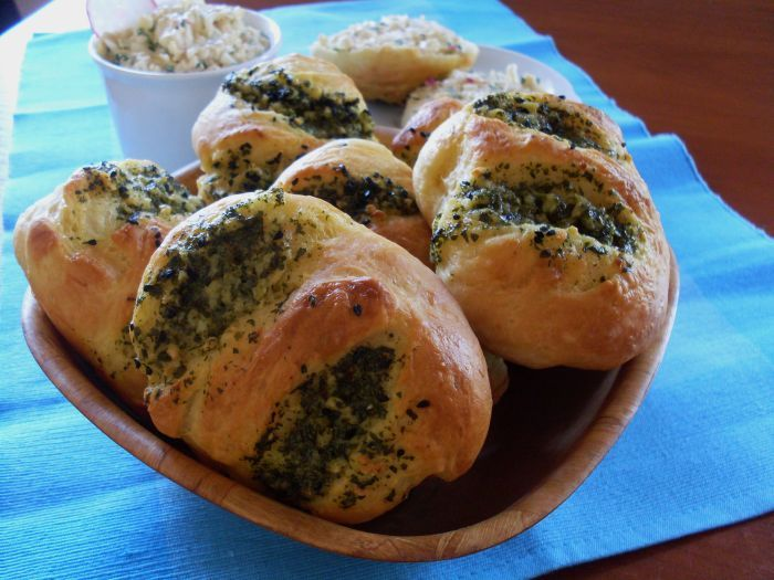 Hot and appetizing garlic bread rolls