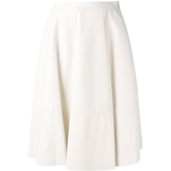Drome A-line skirt ($503) ❤ liked on Polyvore featuring skirts, white, a-line skirt, leather a line skirt, genuine leather skirt, knee length leather skirt and leather skirts