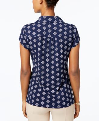 Charter Club Print Polo Top, Created for Macy's – Black XXL