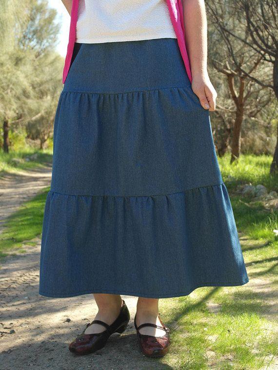 3-Tiered Modest Denim Skirt