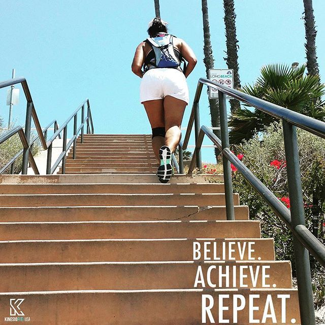A little saturday inspiration for you! #believe #achieve #repeat #inspiration #healthylife #workoutgang #positivevibes #saturdayvibes #kinesiofitusa #beachvibes #california #keepgoing #youcandoit #dontquit #stairsworkout #longbeach