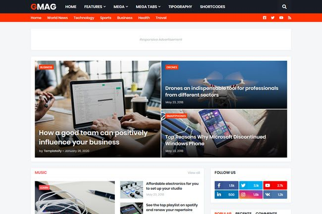 Gmag - Responsive Magazine Blogger Template in 2020 | Magazine ...
