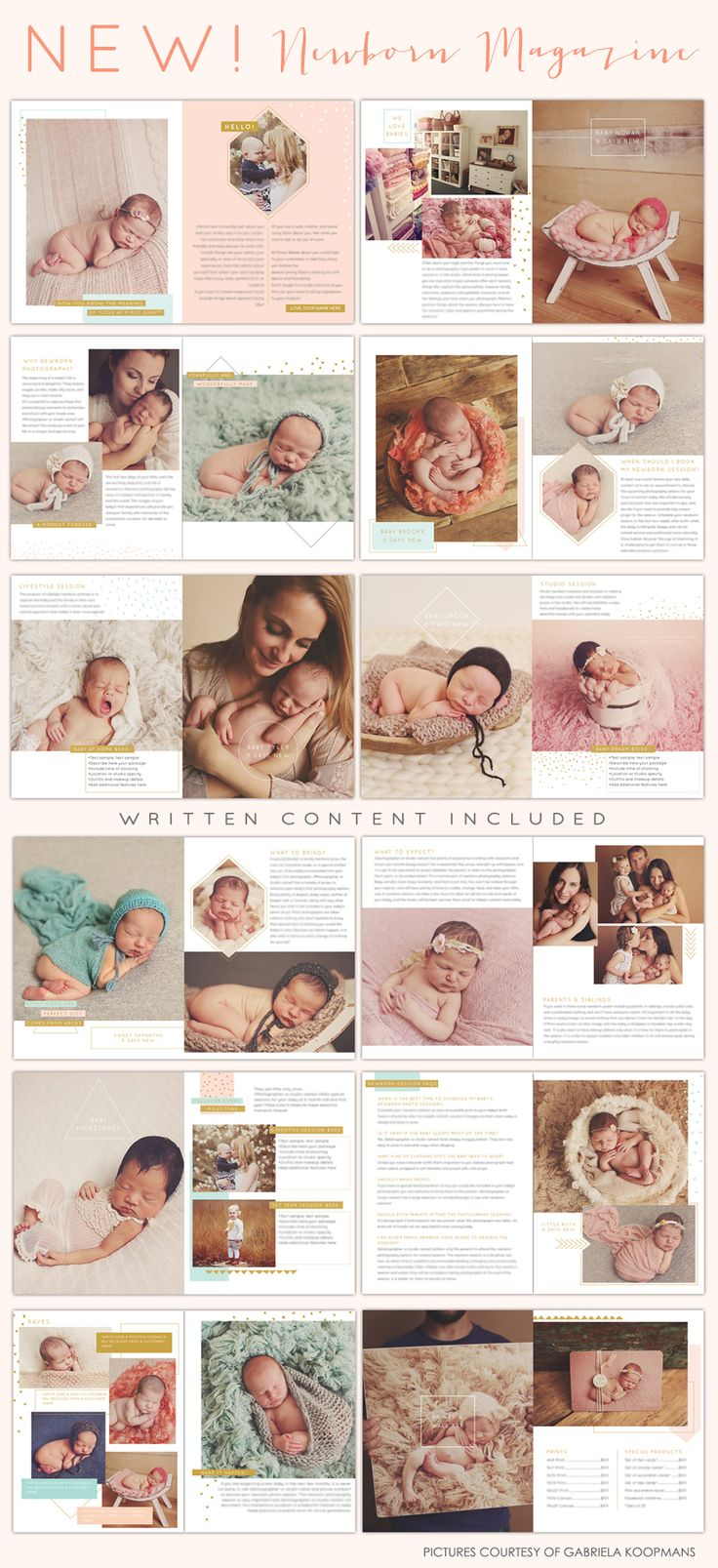 NEW!! Newborn Photography Magazine | Photoshop templates to create a professional studio magazine - use printed or digitally :)