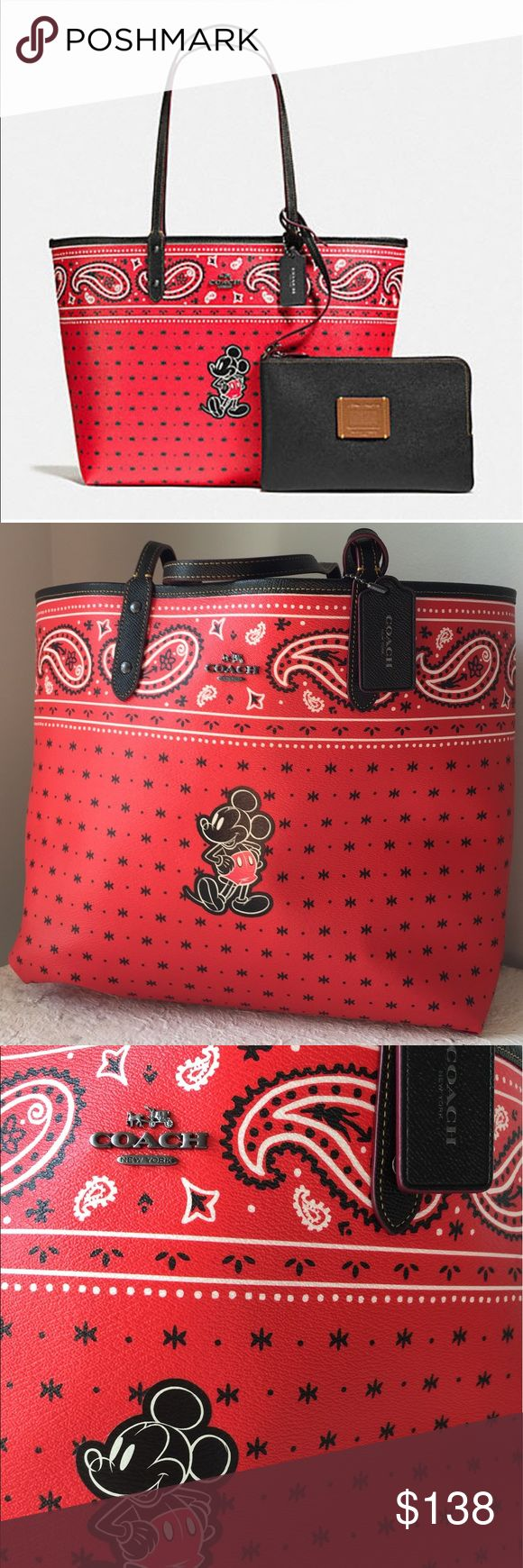 🔥 Disney COACH tote bag authentic reversible Beautiful COACH Disney tote bag EUC. Reversible red outside and black inside. Fits a ton of things very roomy. Coach Bags Totes