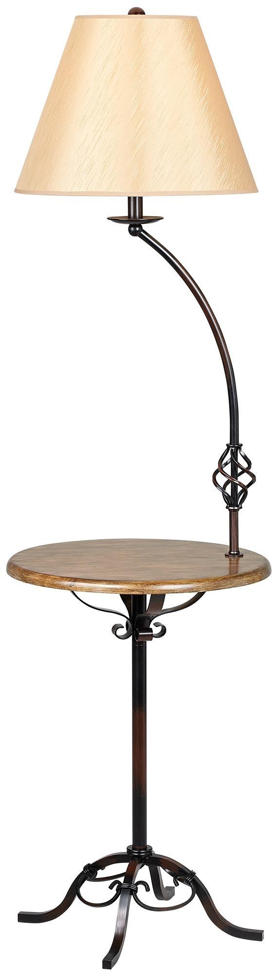 Wrought Iron Wood Tray Table Floor Lamp | LampsPlus.com