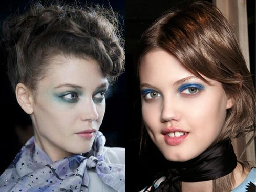The look: Blue eyes are as bold as you like this season. It's a continuation from 2013 when the trend returned, but this season there's something for everyone from subtle liner to blocks of shadow.The shows: At Giorgio Armani (left) the wash of turquoise was almost transparent while at Marc by Marc Jacobs (right) the electric blue eye shadow was arrestingly dense. At his sister show, Mark Jacobs, models wore royal blue liner on the waterline – a subtle take on the trend. The products: Kiko…