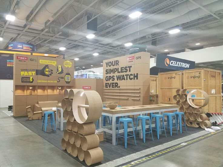 Green trade show booth made out of cardboard on our CNC machine.