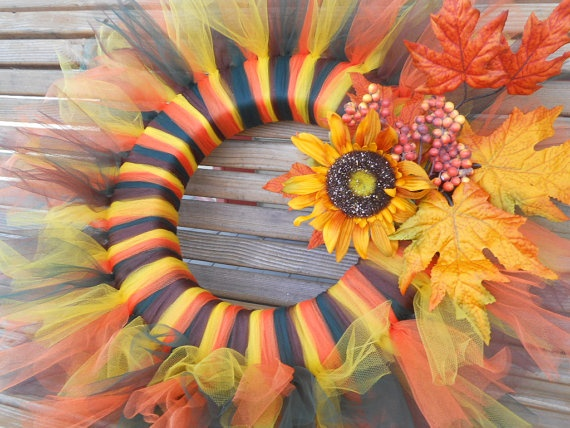 Colors of Fall Tulle Wreath by DBCraftyTreasures on Etsy