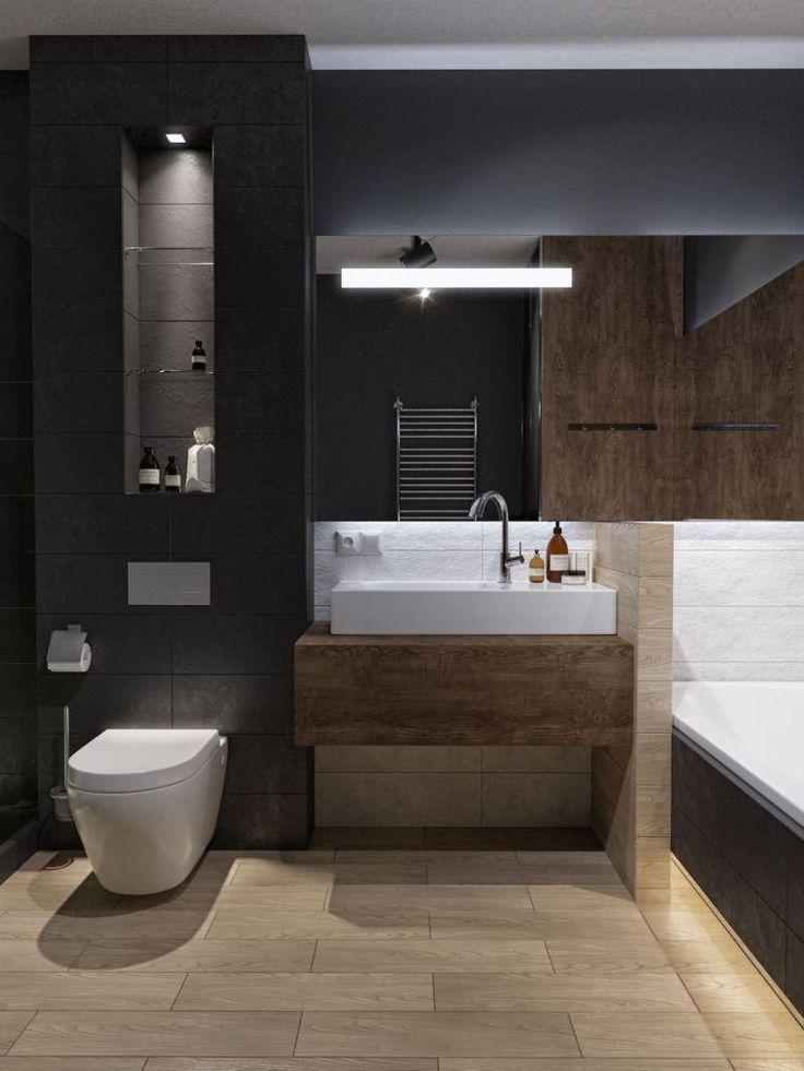 deco de salle de bain en couleur sombre avec peinture ...