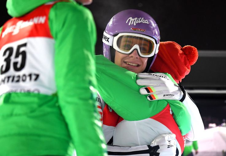 Andreas Wellinger Photos Photos - Andreas Wellinger of Germany (46) is congratulated after his final jump during the Men's Ski Jumping HS130 at the FIS Nordic World Ski Championships on March 2, 2017 in Lahti, Finland. - Men's Ski Jumping HS130- FIS Nordic World Ski Championships