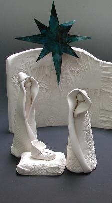 burk'art clayworks nativity,white clay nativity scene, handmade usa