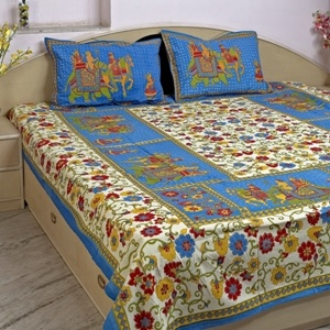 Multicoloured Traditional Print Bedsheet With 02 Pillow Covers