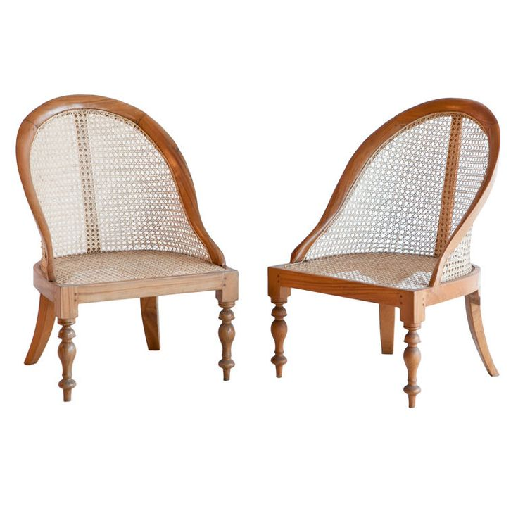 Pair of Anglo Indian Satinwood Caned Armchairs Cane