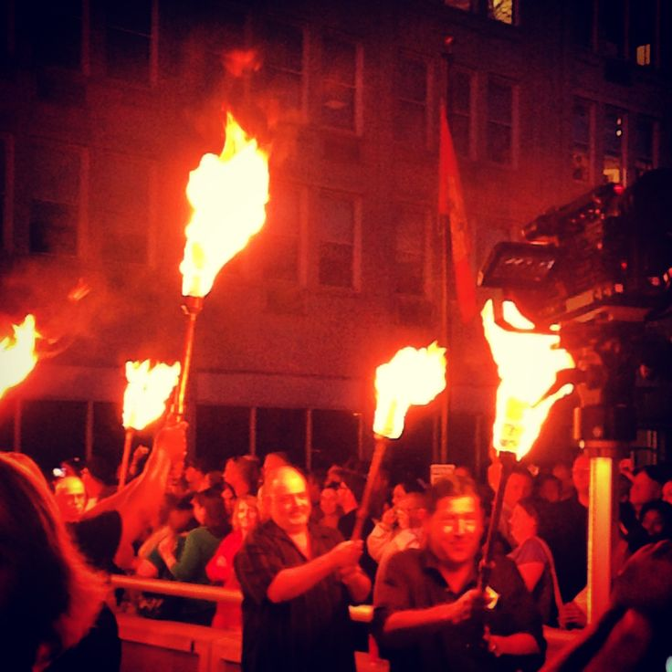 The 100 torch lighting ceremony at WaterFire Sharon, PA.