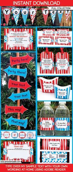 Dr Seuss Party Printables, Invitations & Decorations | Dr Suess Birthday Party | Theme Templates | $12.50 via SIMONEmadeit.com | Everything you could possibly need for a Dr Suess Party!