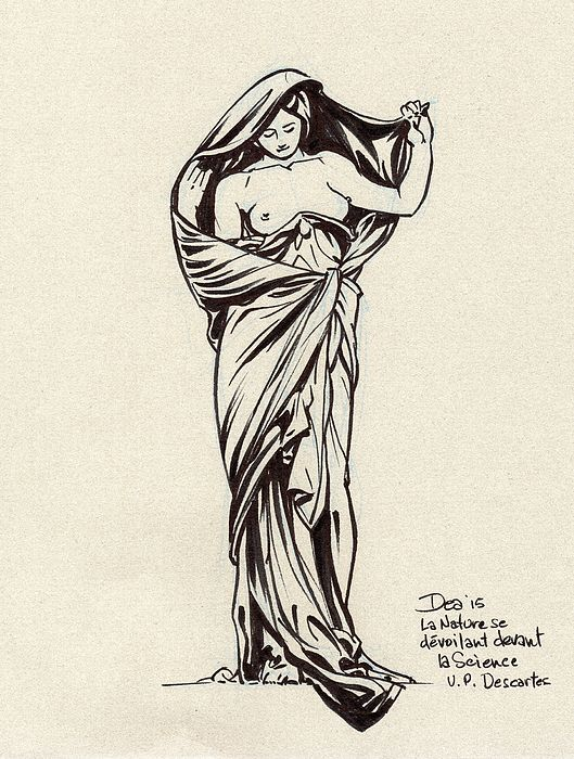 Nature Unveiling Herself Before Science is an allegorical sculpture created in 1899 in the Art Nouveau style by Louis-Ernest Barrias. Drawn in one sitting in October 2015 at the University Paris Descartes.