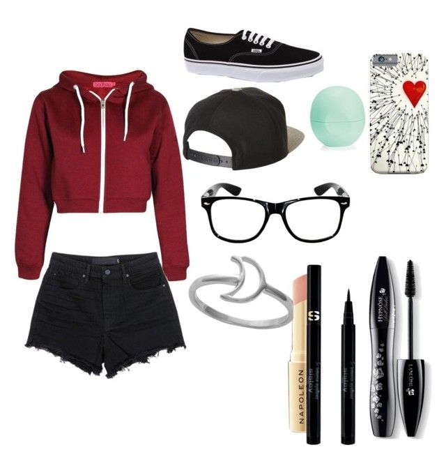 """""""Burgundy Crop Top Hoodie w/ Black Distressed Shorts and Black Vans Outfit"""" by jet-black-sweetheart on Polyvore featuring Alexander Wang, Vans, Lancôme, Napoleon Perdis, Sisley, Eos and Brixton"""