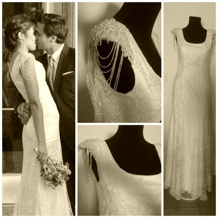 vestido de novia con aires de los años veinte