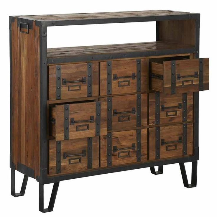 54 best meuble bois metal images on pinterest industrial furniture cabinet drawers and furniture. Black Bedroom Furniture Sets. Home Design Ideas