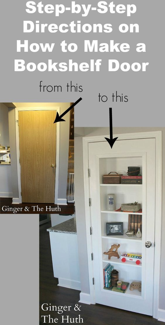 Want to freshen up an interior door and add some extra storage? How about making it a bookshelf door! This step by step DIY tutorial will show you how! storage. simple living. door decor. design and remodel. small spaces. apartment living. door bookcase. door book shelf.