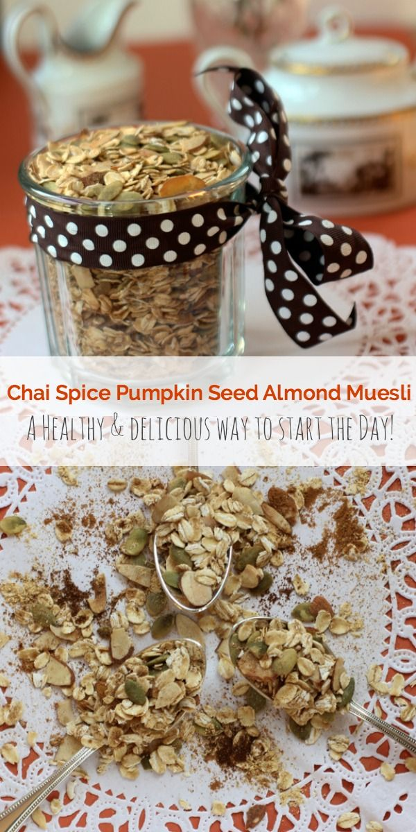 This easy Chai Spice Pumpkin Seed Almond Muesli is a healthy and delicious way to start the day!    The Spicy RD - vegan, gluten free, low FODMAP