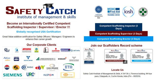 Join Safety Catch Training Institute of Management & Skills and become an Internationally certified competent #ScaffoldingInspector , #Supervisor and #Erector!!