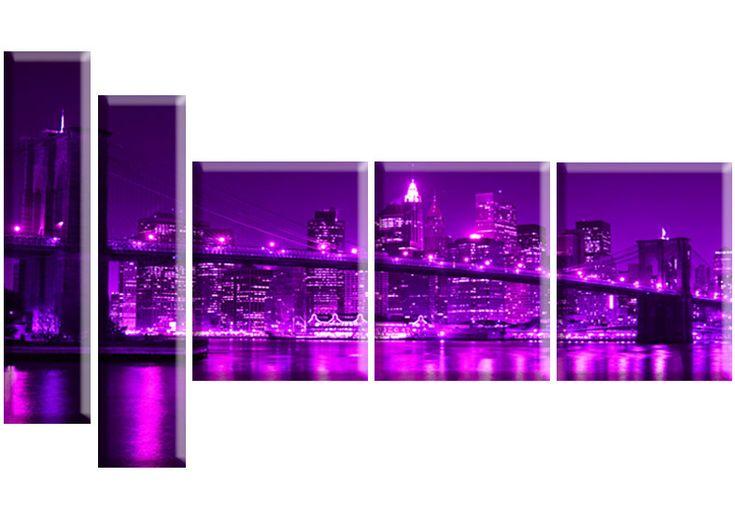 Tablou Manhattan bridge 6778 Dimensiuni: 2x 20x85 - 3x 40x50 cm Total: 160x90 cm