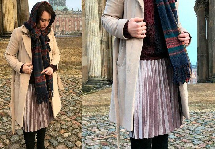 Velour skirt | Kosher winter look