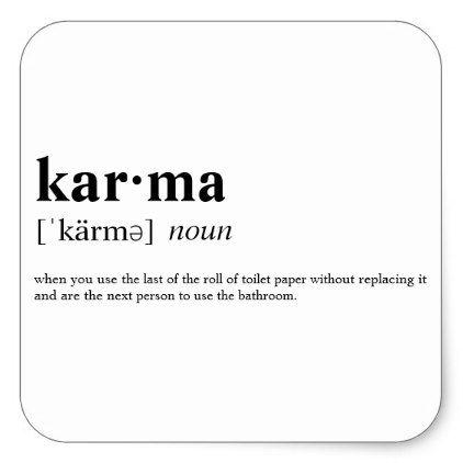 Karma Square Sticker - college dorm gifts student students accessories freshmen