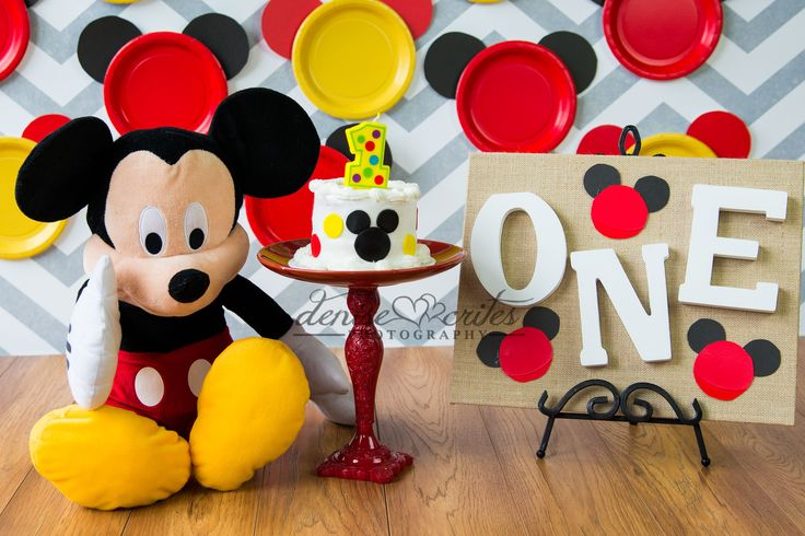 One Year Cake Smash, Boy, Mickey Mouse, Denise Crites Photography