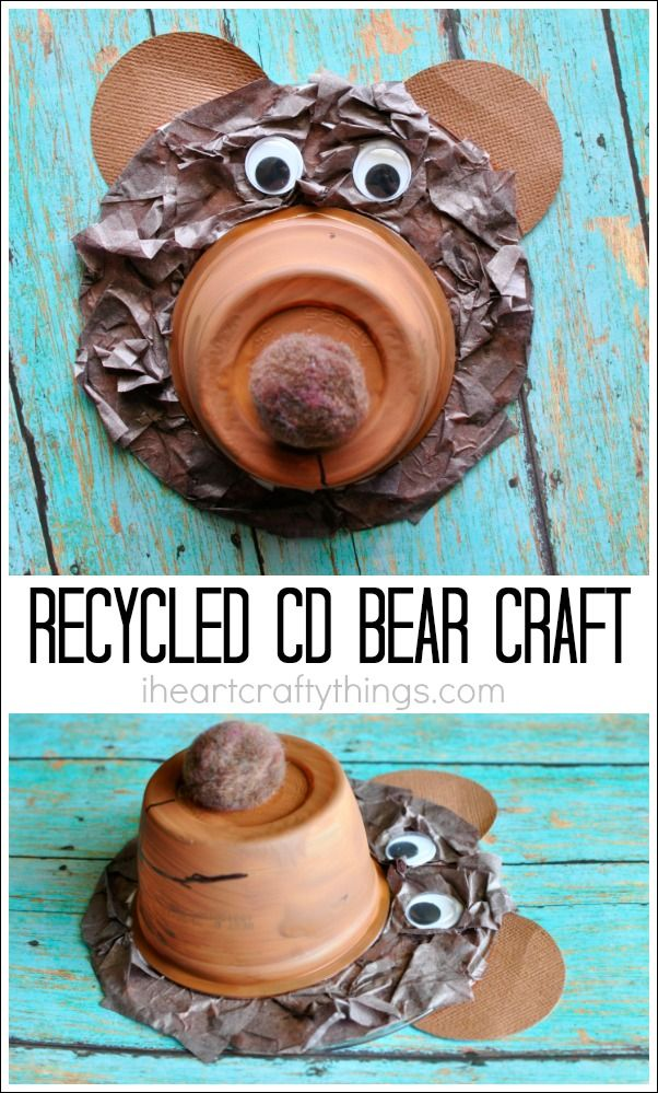 This recycled CD bear craft is simple and fun for kids to make and makes a great animal craft after seeing some bears at your local zoo. Fun summer kids craft.