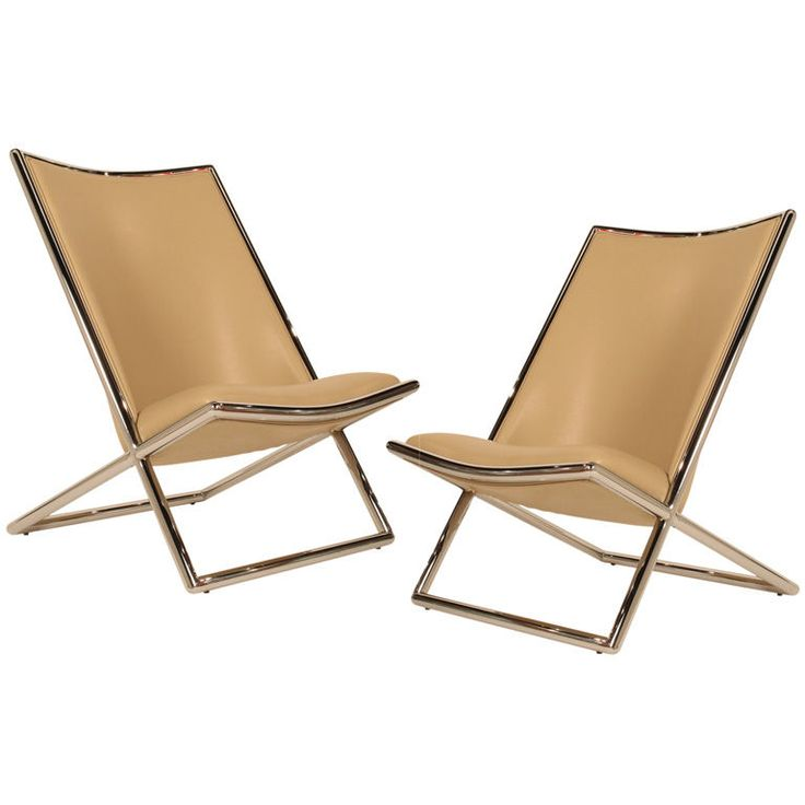 Pair of Tan Leather 'Scissor' Chairs by Ward Bennett  United States  1960's  A pair of 'Scissor' armless chairs with chrome plated metal X-frames and tan leather. A classic International Style design. By Ward Bennett fro Brickel. American, circa 1960.Bennett United, Classic International, Chrome Plates, Art Adn, Circa 1960, Adn Functional, Armless Chairs, Leather, Bennett Fro