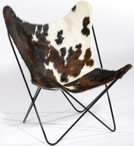 Hardoy Butterfly Chair in cow hide.  A design classic and modern furniture.