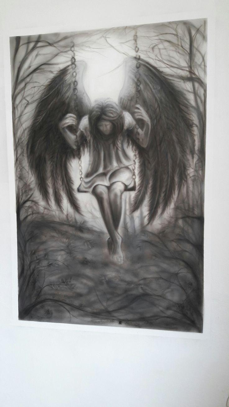 Finish#theend#mural#inmyhome#blackangel#brokenwings#airbrush
