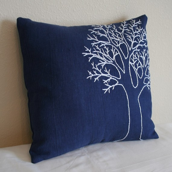 Navy blue tree pillow by MaDahms on Etsy $38.00