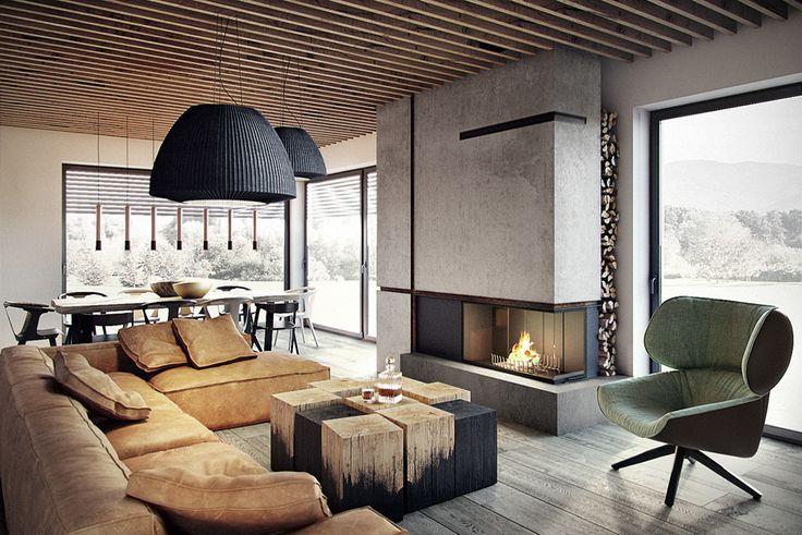 Bielsko-Biała, dom - 230m2 : Modernistyczny salon od razoo-architekci