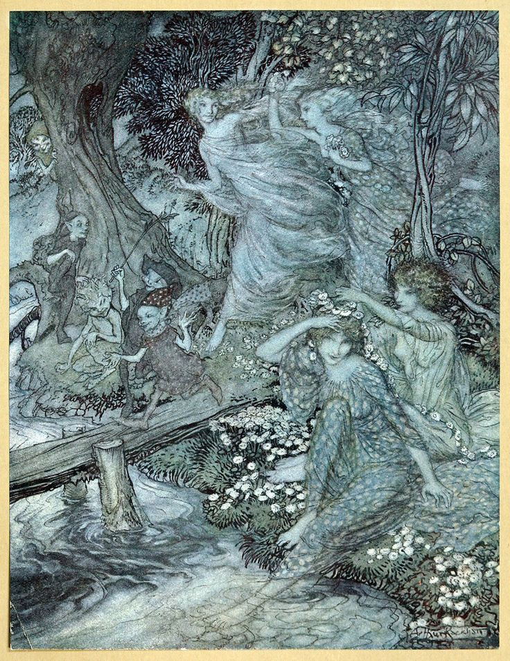 By dimpled Brook, and Fountain brim, The Wood-Nymphs, deckt with Daisies trim, Their merry wakes and pastimes keep - Comus by John Milton, 1921