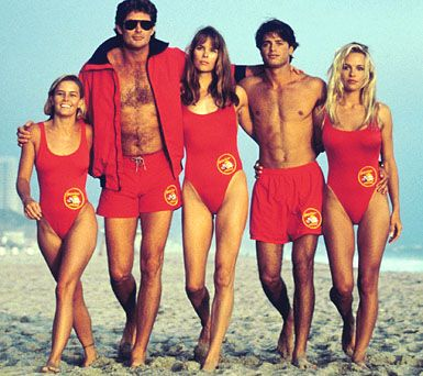 Baywatch starring Nicole Eggert as Summer Quinn, David Hasselhoff as Mitch Buchannon, Alexandra Paul as Lt. Stephanie Holden, David Charvet as Matt Brody and Pamela Anderson as C.J. Parker (1989-2001).