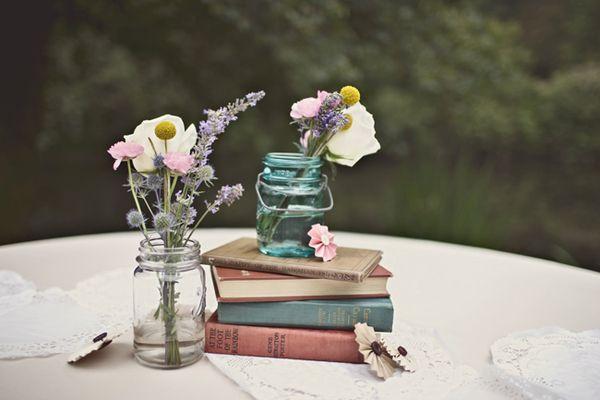.: Table Decorations, Books, Wedding Ideas, Book Centerpieces, Mason Jars, Flower, Party Ideas