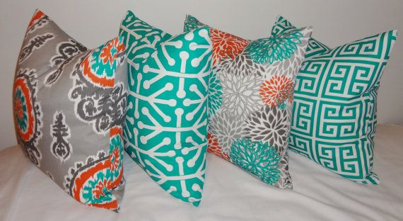 OUTDOOR+Pillow+Suzani+Teal+Orange+Grey+Deck+Patio+by+HomeLiving,+$18.00